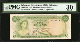 BAHAMAS. Government of the Bahamas. 5 Dollars, 1965. P-20a. PMG Very Fine 30.