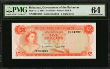 BAHAMAS. Government of the Bahamas. 5 Dollars, 1965. P-21a. PMG Choice Uncirculated 64.