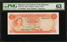 BAHAMAS. Government of the Bahamas. 5 Dollars, 1965. P-21a. PMG Choice Uncirculated 63.