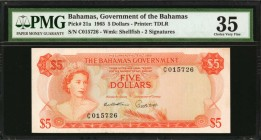 BAHAMAS. Government of the Bahamas. 5 Dollars, 1965. P-21a. PMG Choice Very Fine 35.