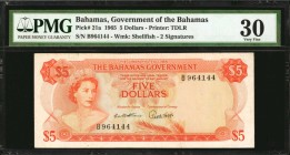 BAHAMAS. Government of the Bahamas. 5 Dollars, 1965. P-21a. PMG Very Fine 30.