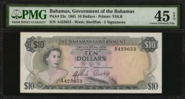 BAHAMAS. Government of the Bahamas. 10 Dollars, 1965. P-22a. PMG Choice Extremely Fine 45 EPQ.