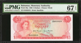 BAHAMAS. Monetary Authority. 3 Dollars, 1968. P-28a. PMG Superb Gem Uncirculated 67 EPQ.