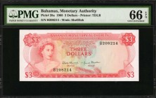 BAHAMAS. Monetary Authority. 3 Dollars, 1968. P-28a. PMG Gem Uncirculated 66 EPQ.