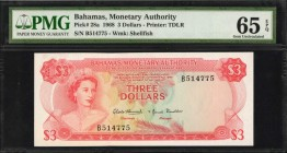 BAHAMAS. Monetary Authority. 3 Dollars, 1968. P-28a. PMG Gem Uncirculated 65 EPQ.