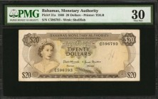 BAHAMAS. Bahamas Monetary Authority. 20 Dollars, 1968. P-31a. PMG Very Fine 30.