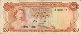 BAHAMAS. Central Bank of the Bahamas. 50 Dollars, 1974. P-40b. Fine.