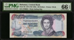 BAHAMAS. Central Bank of the Bahamas. 100 Dollars, 1974 (ND 1992). P-56. PMG Gem Uncirculated 66 EPQ.