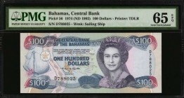 BAHAMAS. Central Bank. 100 Dollars, 1974 (ND 1992). P-56. PMG Gem Uncirculated 65 EPQ.