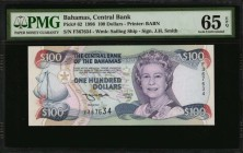 BAHAMAS. Central Bank of the Bahamas. 100 Dollars, 1996. P-62. PMG Gem Uncirculated 65 EPQ.