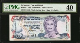 BAHAMAS. Central Bank. 100 Dollars, 1996. P-62. PMG Extremely Fine 40.