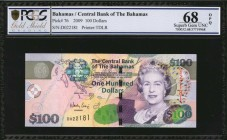 BAHAMAS. Central Bank of the Bahamas. 100 Dollars, 2009. P-76. PCGS GSG Superb Gem Uncirculated 68 OPQ.