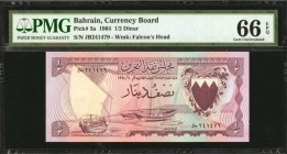 BAHRAIN. Currency Board. 1/2 Dinar, 1964. P-3a. PMG Gem Uncirculated 66 EPQ.