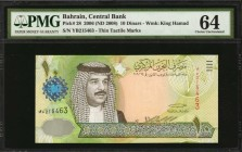 BAHRAIN. Central Bank. 10 Dinars, 2006 (ND 2008). P-28. PMG Choice About Uncirculated 64.