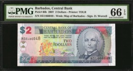 BARBADOS. Central Bank. 2 Dollars, 2007. P-66b. PMG Gem Uncirculated 66 EPQ.