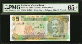 BARBADOS. Central Bank of Barbados. 5 Dollars, 2007. P-67b. PMG Gem Uncirculated 65 EPQ.
