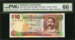 BARBADOS. Central Bank. 10 Dollars, 2007 (ND 2009). P-68b. PMG Gem Uncirculated 66 EPQ.