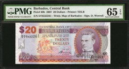 BARBADOS. Central Bank. 20 Dollars, 2007. P-69b. PMG Gem Uncirculated 65 EPQ.