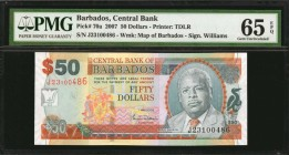 BARBADOS. Central Bank. 50 Dollars, 2007. P-70a. PMG Gem Uncirculated 65 EPQ.