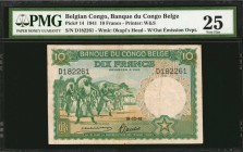 BELGIAN CONGO. Banque du Congo Belge. 10 Francs, 1941. P-14. PMG Very Fine 25.
