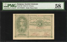 BELGIUM. Societe Generale de Belgique. 5 Francs, 1915-18. P-88. PMG Choice About Uncirculated 58.