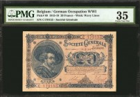BELGIUM. Societe Generale de Belgique. 20 Francs, 1915-18. P-89. German Occupation WWI. PMG Choice Very Fine 35.