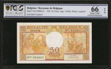 BELGIUM. Royaume de Belgique. 50 Francs, 1956. P-133b. PCGS GSG Gem Uncirculated 66 OPQ.