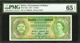 BELIZE. Government of Belize. 1 Dollar, 1974. P-33a. PMG Gem Uncirculated 65 EPQ.