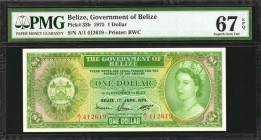 BELIZE. Government of Belize. 1 Dollar, 1975. P-33b. PMG Superb Gem Uncirculated 67 EPQ.