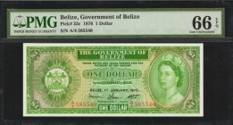 BELIZE. Government of Belize. 1 Dollar, 1976. P-33c. PMG Gem Uncirculated 66 EPQ.