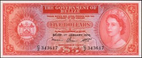 BELIZE. Government of Belize. 5 Dollars, 1976. P-35b. Uncirculated.
