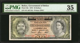 BELIZE. Government of Belize. 10 Dollars, 1976. P-36c. PMG Choice Very Fine 35.