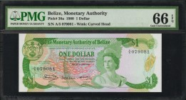 BELIZE. Monetary Authority. 1 Dollar, 1980. P-38a. PMG Gem Uncirculated 66 EPQ.