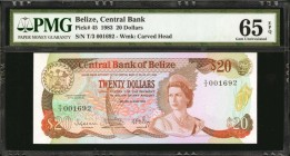 BELIZE. Central Bank. 20 Dollars, 1983. P-45. PMG Gem Uncirculated 65 EPQ.