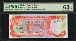BELIZE. Central Bank of Belize. 5 Dollars, 1989. P-47b. PMG Gem Uncirculated 65 EPQ.