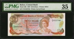 BELIZE. Central Bank of Belize. 20 Dollars, 1987. P-49b. PMG Choice Very Fine 35.