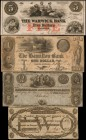 Lot of (4). Rhode Island. 1800s. $1, $2 & $5. Fine to Very Fine.