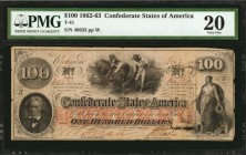 T-41. Confederate Currency. 1862-63 $100. PMG Very Fine 20.