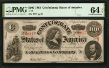 T-56. Confederate Currency. 1863 $100. PMG Choice Uncirculated 64 EPQ.