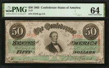 T-57. Confederate Currency. 1863 $50. PMG Choice Uncirculated 64.