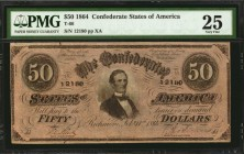 T-66. Confederate Currency. 1864 $50. PMG Very Fine 25.