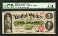 Fr. 61a. 1862 $5 Legal Tender Note. PMG About Uncirculated 55.