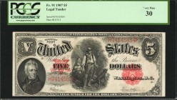 Fr. 91. 1907 $5 Legal Tender Note. PCGS Currency Very Fine 30.