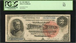 Fr. 242. 1886 $2 Silver Certificate. PCGS Currency Fine 12.