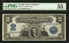 Fr. 251. 1899 $2 Silver Certificate. PMG About Uncirculated 55.