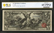 Fr. 268. 1896 $5 Silver Certificate. PCGS Banknote Gem Uncirculated 65 PPQ.