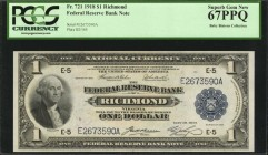 Fr. 721. 1918 $1 Federal Reserve Bank Note. Richmond. PCGS Currency Superb Gem New 67 PPQ.
