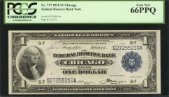 Fr. 727. 1918 $1 Federal Reserve Bank Note. Chicago. PCGS Currency Gem New 66 PPQ.