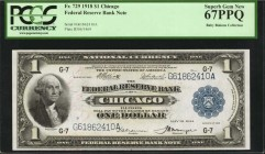 Fr. 729. 1918 $1 Federal Reserve Bank Note. Chicago. PCGS Currency Superb Gem New 67 PPQ.
