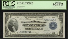 Fr. 738. 1918 $1 Federal Reserve Bank Note. Kansas City. PCGS Currency Gem New 66 PPQ.